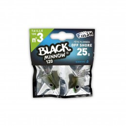 Tête plombée fiiish black minnow 120 off shore 25g (x2)